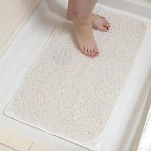 Білий килимок для ванної протиковзкий на присосках