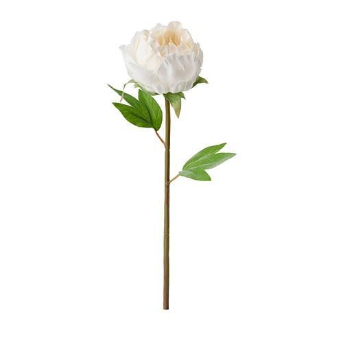 ИКЕА (IKEA) СМИККА, 804.097.83, Искусственный листок, Пион, белый, 30 см - ТОП ПРОДАЖ