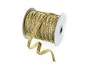 Лента бархатная (велюр) золотая 1см