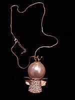 Подвеска ангелочек в золоте с камнями Сваровски