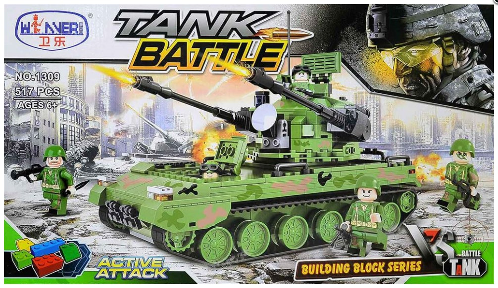 Конструктор танк военная техника Winner 1309, 517 деталей, пластик, для мальчика 6 7 8 лет