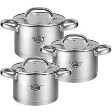 Набор посуды из нержавеющей стали Krauff 3 шт 1,8л/2,6л/3,6л (26-242-043)