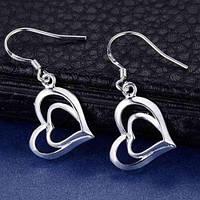 Сріблясті сережки Серце в серце, фото 1