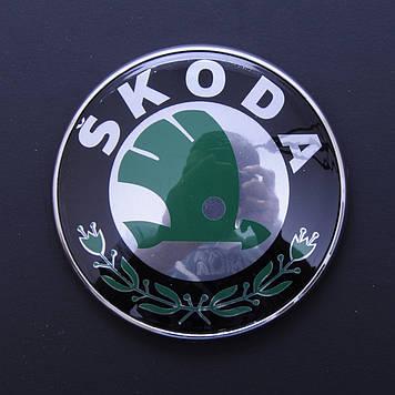 "Эмблема  ""Skoda""  80мм\пластик\2 пукли (перед\зад)"