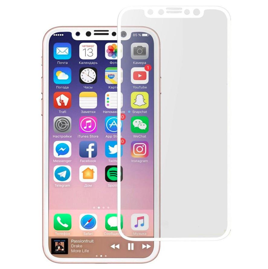Защитное стекло для iPhone X White 4D (no package)
