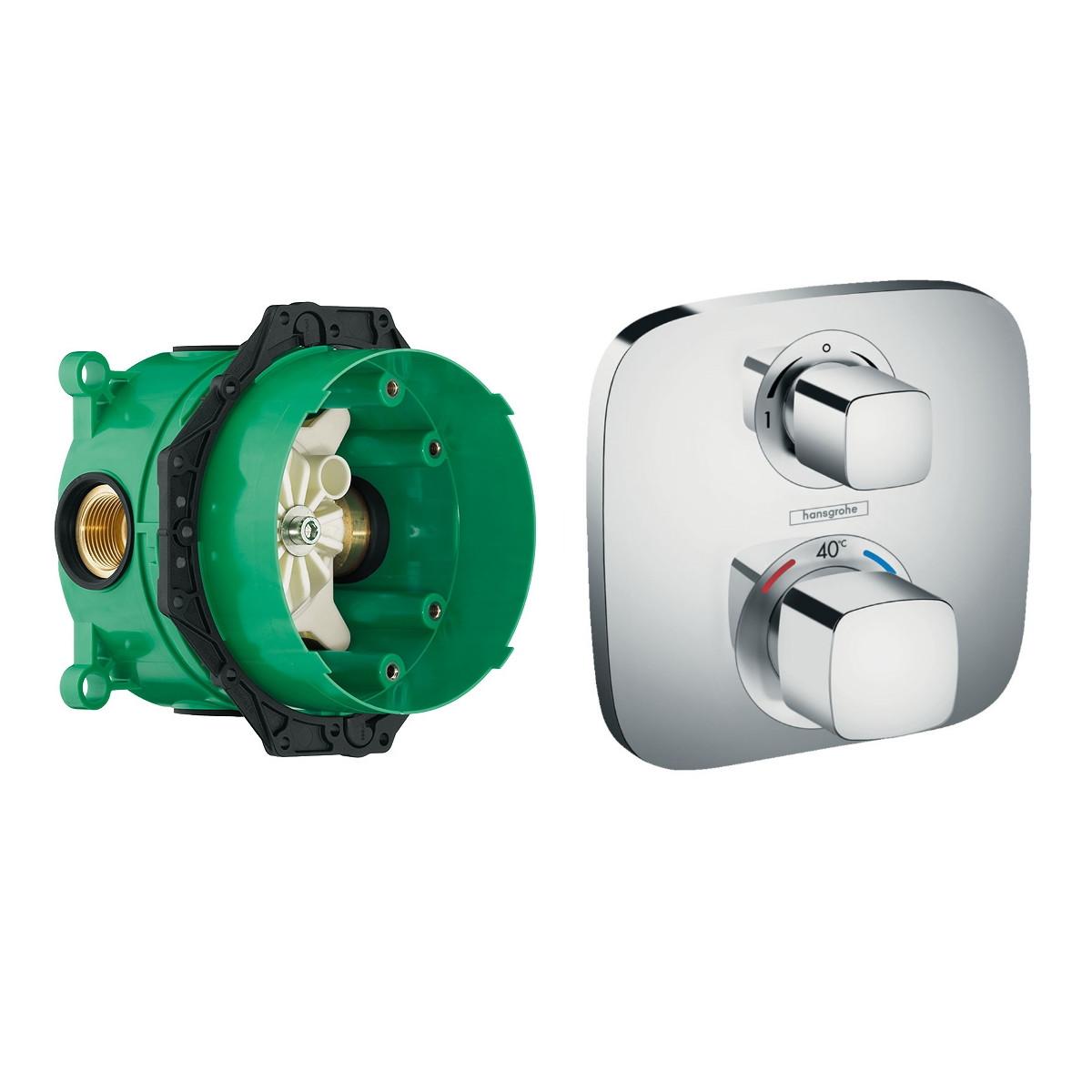 ECOSTAT E термостат с запорным/переключающим вентилем + IBOX universal скрытая часть для смесителя (в подарок)