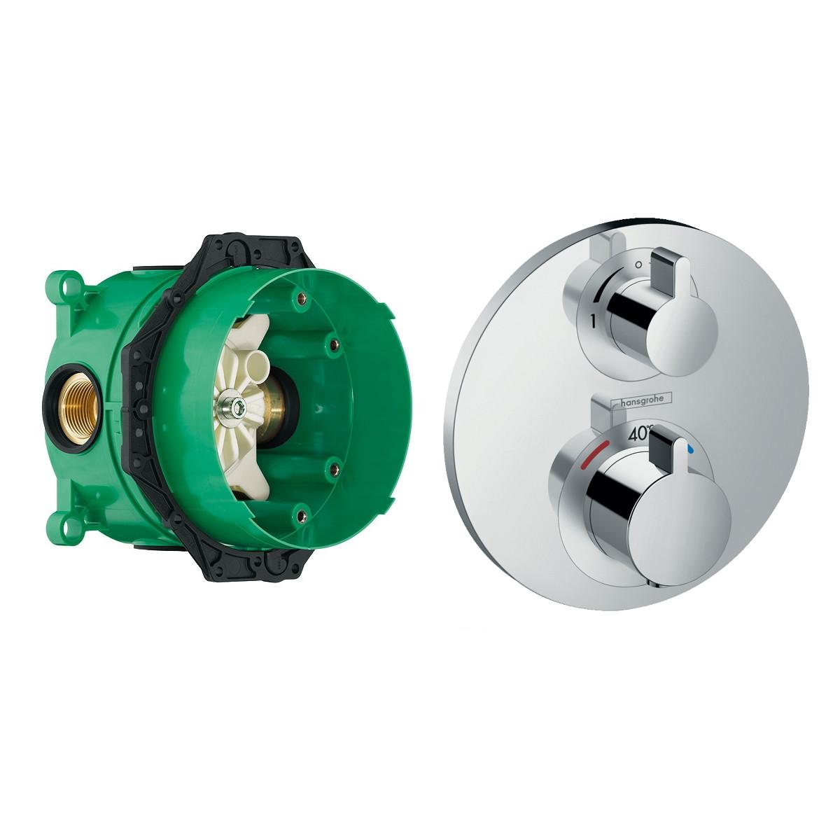 ECOSTAT S термостат с запорным/переключающим вентилем + IBOX universal скрытая часть для смесителя (в подарок)