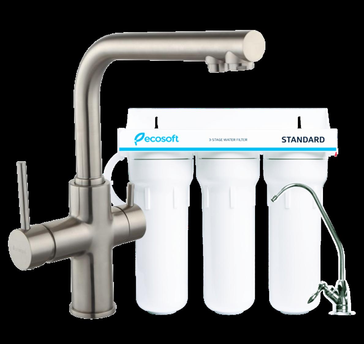 Комплект: DAICY смеситель для кухни сатин + Ecosoft Standart система очистки воды (3х ступенчатая)
