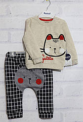 Комплект д/с  для мальчика (кофта дл/р+штаники), двунитка, оптом ПАК/4 шт. 6/9м-18/24 мес, Miniworld