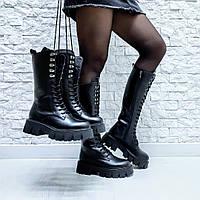 Сапоги высокие берцы ботинки натуральная кожа черного цвета подошва прада шнуровка по всей дине демисезонные