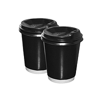 Бумажные стаканы 250(280) мл Евро, ДаблВол, двухслойные, чёрные, белые внутри, 25 шт./рук (арт.0082)