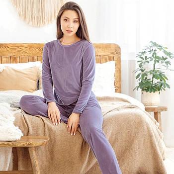 Женская пижама теплая велюровая с длинным рукавом. Теплая пижама плюшевая для дома, сна  (фиолетовый) M