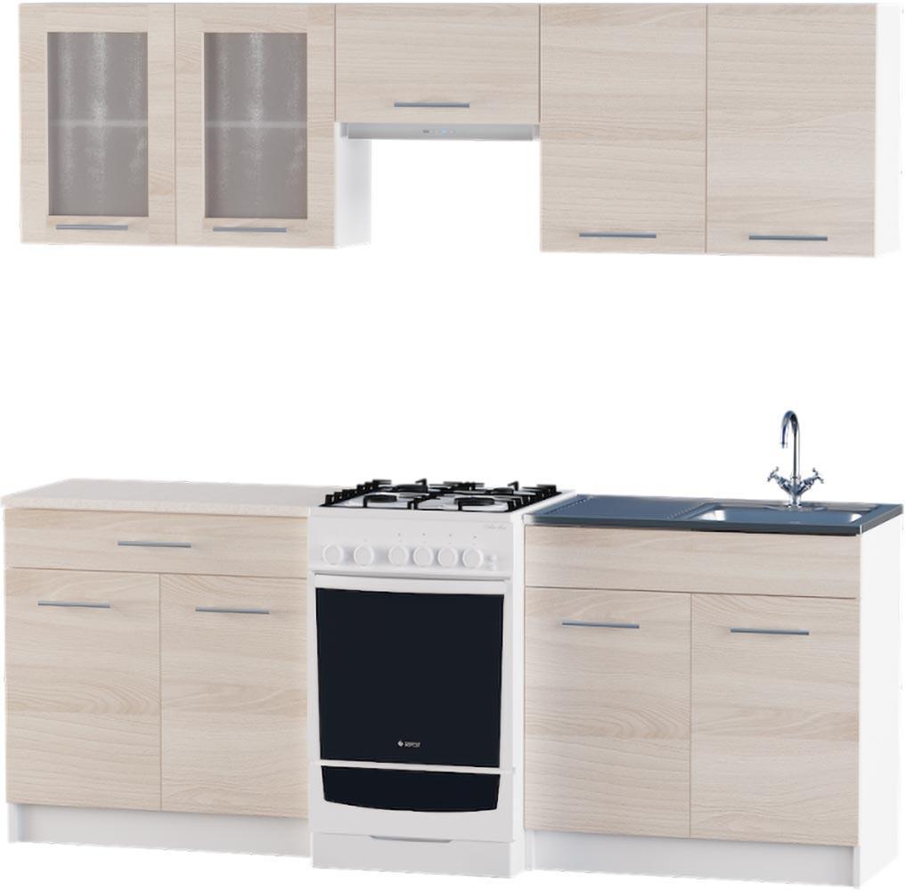 Кухня Эко №2 набор 2.1 м ЭВЕРЕСТ Белый + Шимо светлый, фото 1