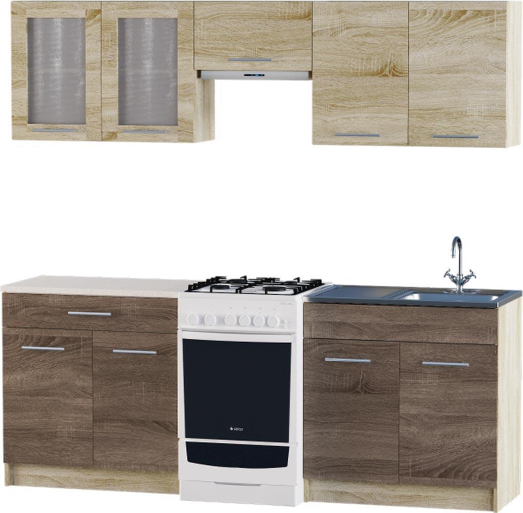 Кухня Эко №2 набор 2.1 м ЭВЕРЕСТ Белый + Шимо светлый, фото 6