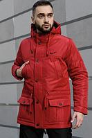 Мужская зимняя парка Nike на флисе, теплая куртка, красная (реплика)