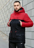 Мужская зимняя парка Nike на флисе, теплая куртка, черно-красная (реплика)