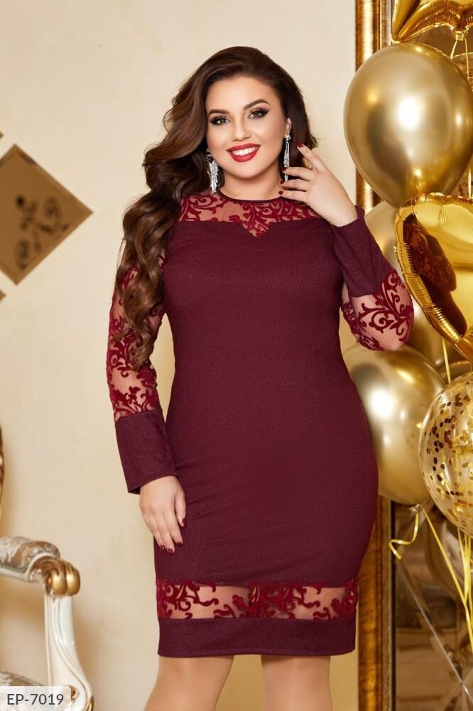 Женское нарядное платье.  Размер: 50, 52, 54, 56 Ткань: турецкий креп-дайвинг с люрексовой нитью выбитый гипюр