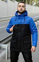 Мужская зимняя парка Nike на флисе, теплая куртка, черно-синяя (реплика)