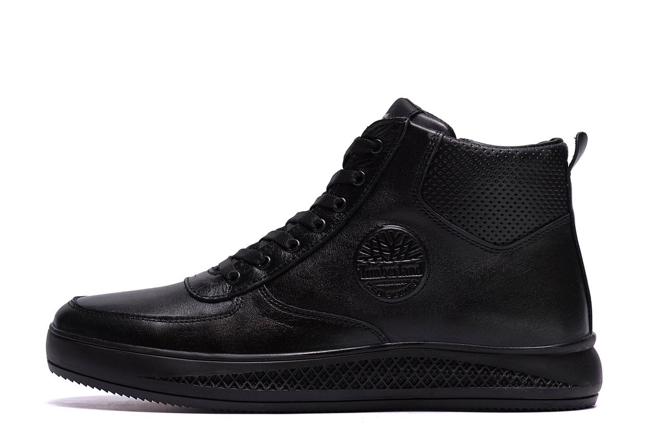 Чоловічі зимові шкіряні черевики Timberland Black (репліка)