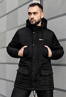 Мужская зимняя парка Nike на флисе, теплая куртка, черная (реплика)