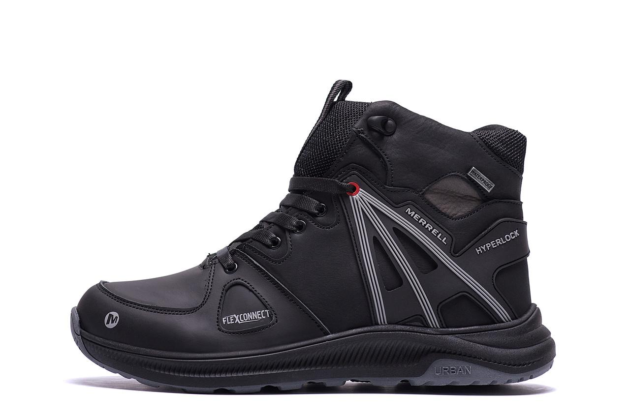 Чоловічі зимові шкіряні черевики MERRELL SLAB Black (репліка)