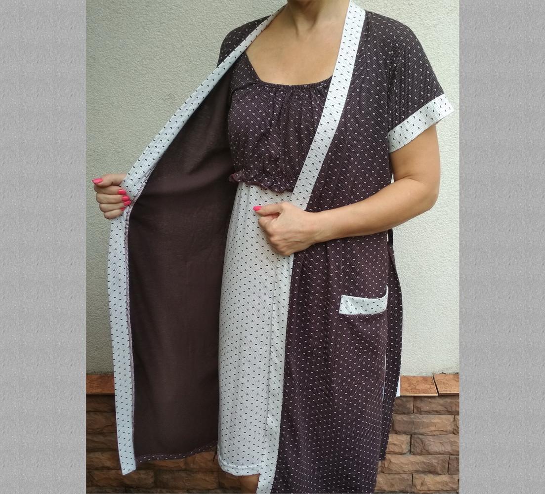 """Комплект женский трикотажный для кормящих """"Мама"""" р104, халат и ночная сорочка на бретельках 20037055"""