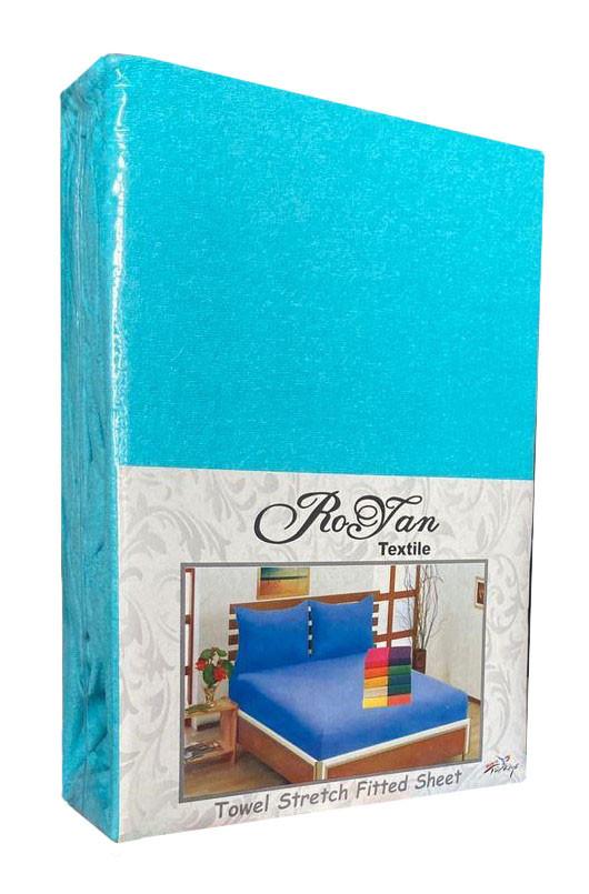 Махровий комплект на резинці Royan в силіконовій упаковці Бірюзовий 160*200 см