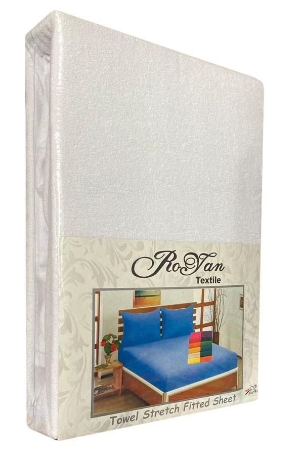 Махровий комплект на резинці Royan в силіконовій упаковці Білий 160*200 см