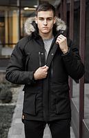 Парка зимняя мужская с мехом на флисе, теплая модная молодежная куртка, черная