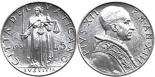 ВАТИКАН. 5 лир 1951г.  (АР)