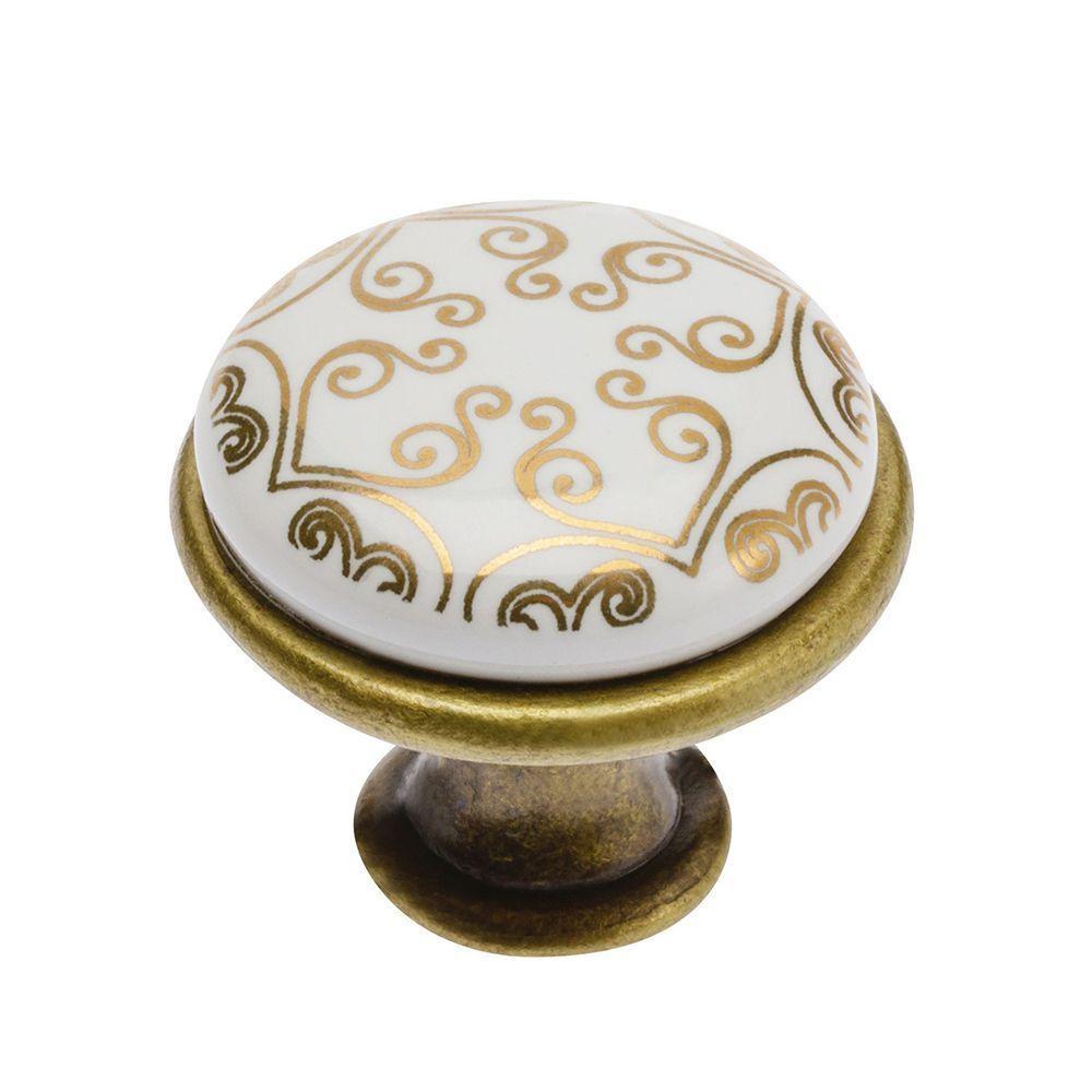 Ручка мебельная с керамикой GTV 0728 Старое золото/керамика (золотой орнамент)
