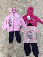 Трикотажный костюм-тройка для девочек оптом, S&D, 1-5 лет.