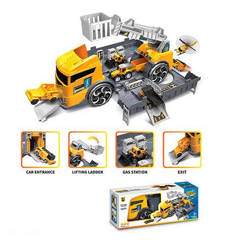 Набор машинок детская стройтехника база техника гараж грузовик трейлер 35см 2в1