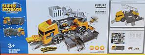 Набор машинок детская стройтехника база техника гараж грузовик трейлер 35см 2в1, фото 2