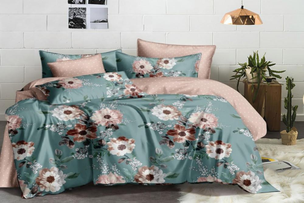 Постельное белье Пион сатин ТМ Комфорт-Текстиль (Евро макси)