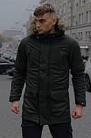 Парка мужская зимняя HotWint Khaki с мехом размеры s m l xl xxl цвет хаки