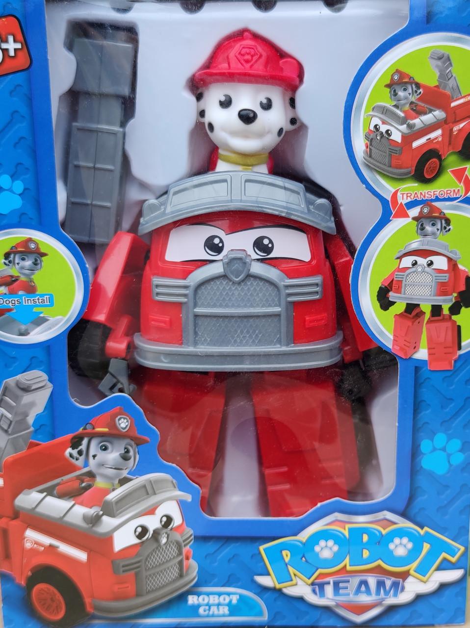 Фигурка игрушка щенок Маршал с машинкой с транспортом из мультфильма Щенячий патруль 17 см.