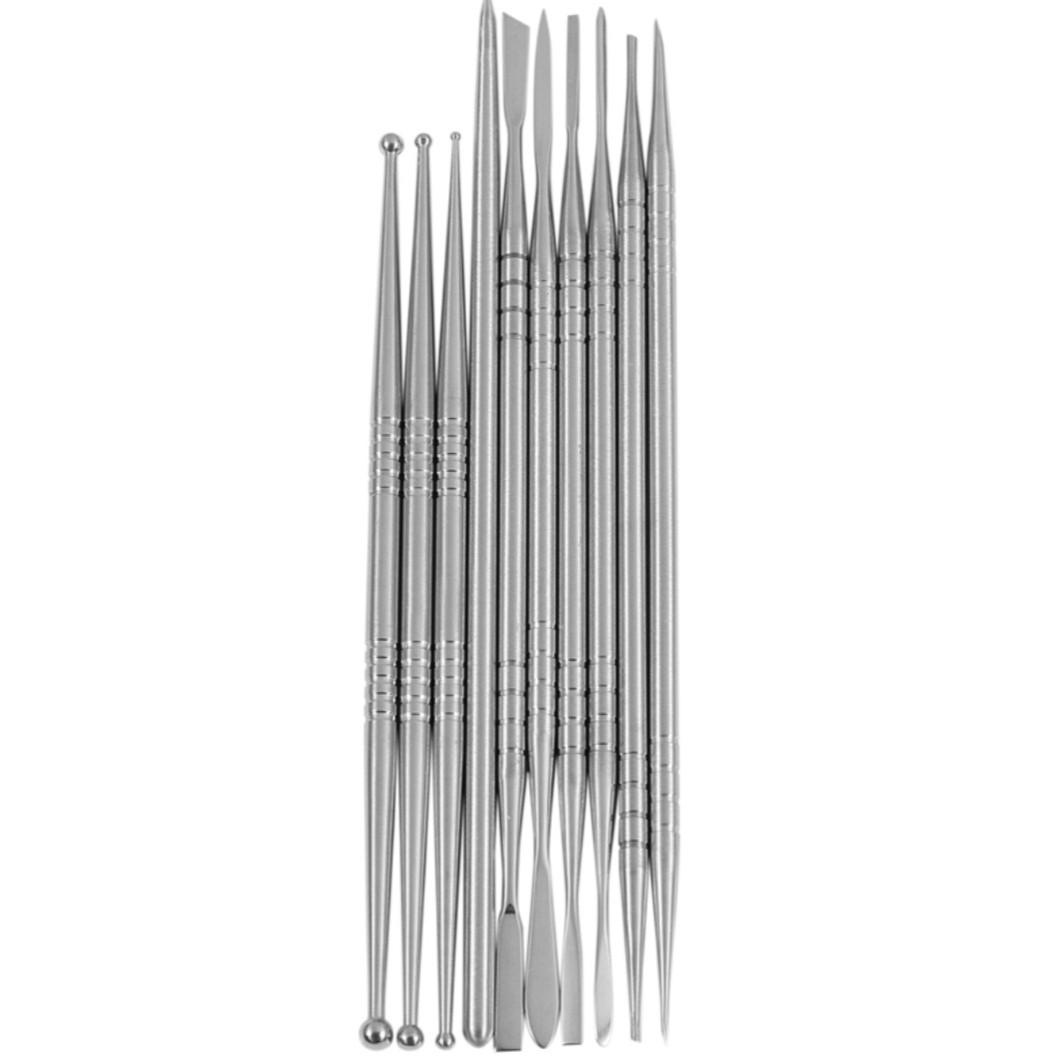 Инструмент для тонкой лепки металл, набор 10 шт.в подарочном чехле, двусторонние