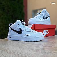 Кроссовки мужские зимние Nike Air Force белые, Найк Аир Форс, натуральная кожа, мех 100% прошиты. Код OD-3634