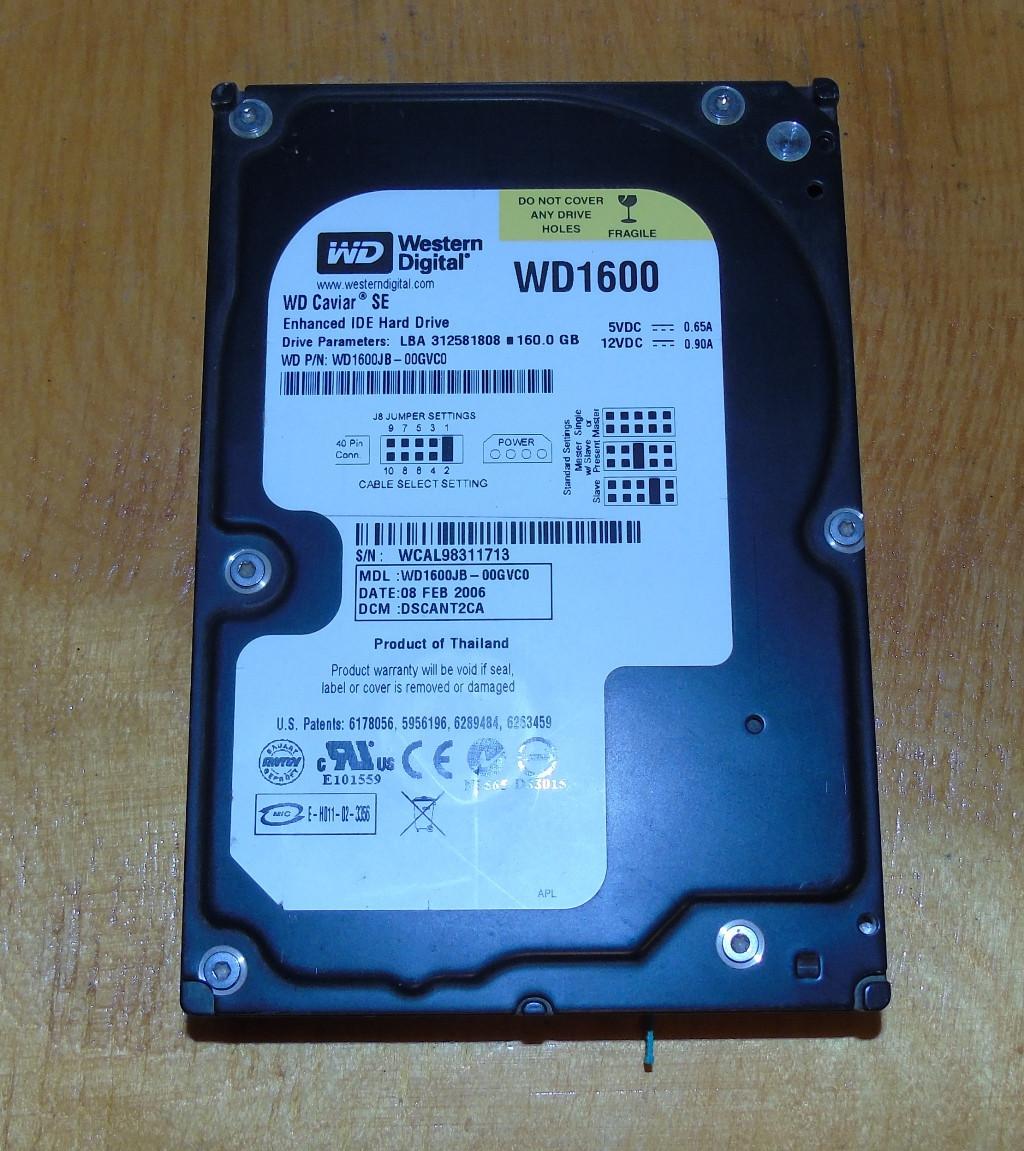 160GB Винчестер Western Digital WD WD1600JB-00GVC0 IDE (713)
