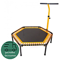 Спортивный мини-батут с ручкой для фитнес-джампинга похудения и тренировок дома Zelart Оранжевый (TX-B6919-50)