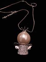 Подвеска ангелочек в серебре  с камнями Сваровски