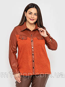 Женская трикотажная рубашка с экокожей больших размеров(Эльба lzn)