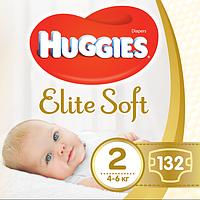 Підгузники дитячі Huggies Elite Soft Newborn 2 (4-6 кг), 132 шт, фото 1