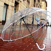 Зонт трость прозрачный с белой ручкой и каймой по краю купола 14 спиц без принта полуавтомат