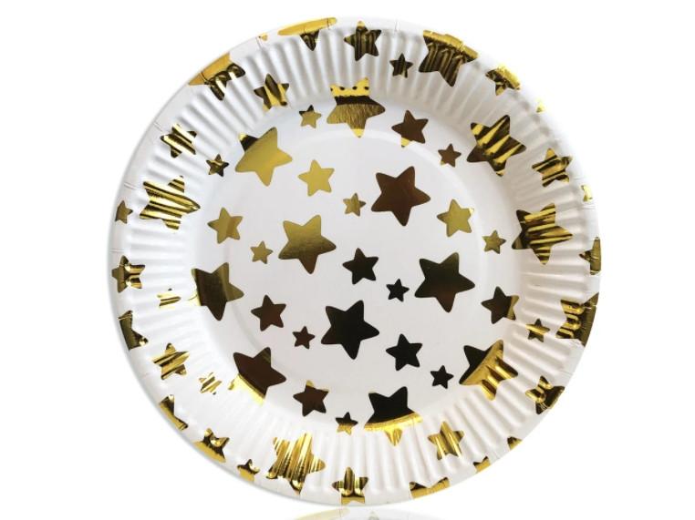 Тарелки праздничные бумажные одноразовые Звездочки