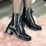 Ботинки женские замшевые демисезонные на невысоком устойчивом каблуке, фото 5