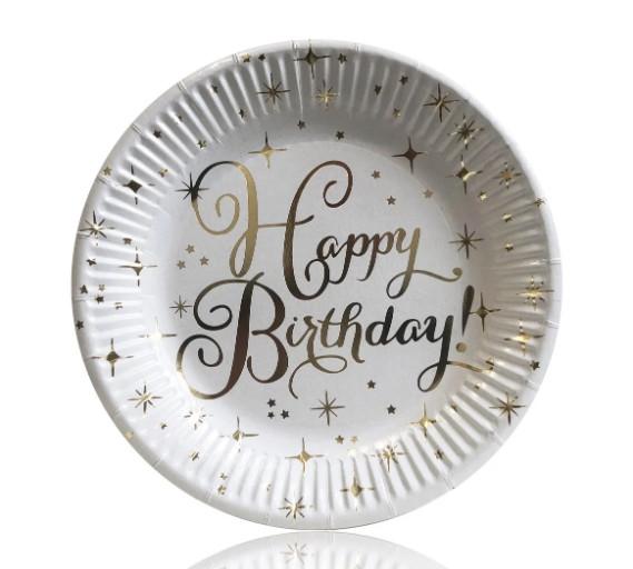 Тарелки праздничные бумажные одноразовые Happy birthday!