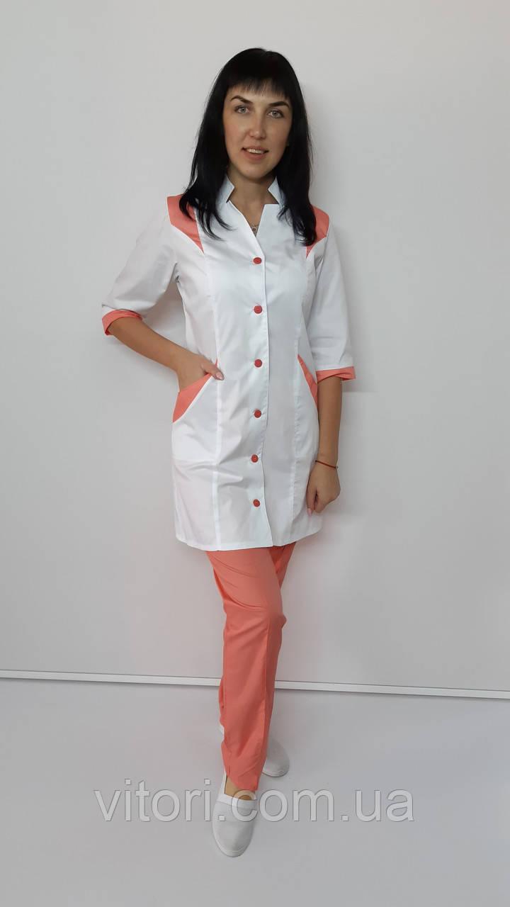 Медицинский женский костюм Эрика 2-ка коттон три четверти рукав
