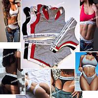 Женское нижнее белье Calvin Klein комплект тройка - стринги шортики топ Білизна жіноча Реплика